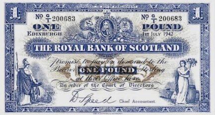 The Royal Bank of Scotland 1 Pound banknote - 1927-1955 series
