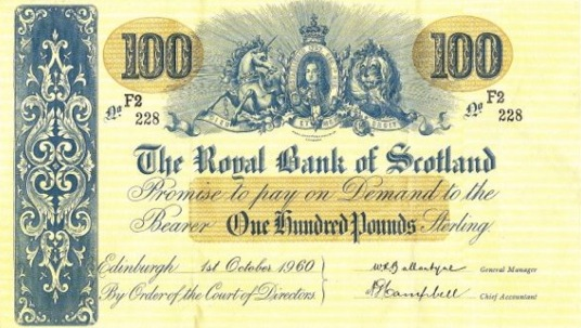 The Royal Bank of Scotland 100 Pounds banknote - 1912-1966 series