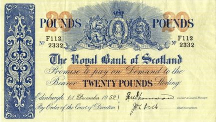 The Royal Bank of Scotland 20 Pounds banknote - 1912-1957 series