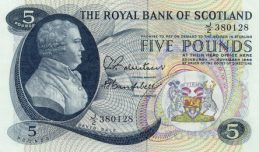 The Royal Bank of Scotland 5 Pounds banknote - 1966-1967 series