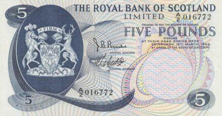 The Royal Bank of Scotland 5 Pounds banknote - 1969-1970 series