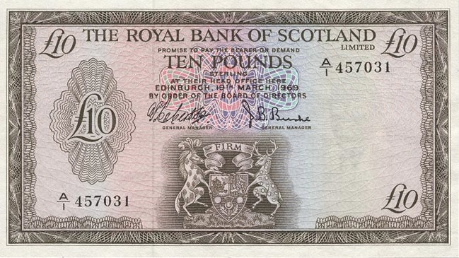 The Royal Bank of Scotland limited 10 Pounds banknote - 1969 series