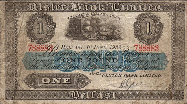 Ulster Bank Limited 1 Pound banknote - series 1926-1956