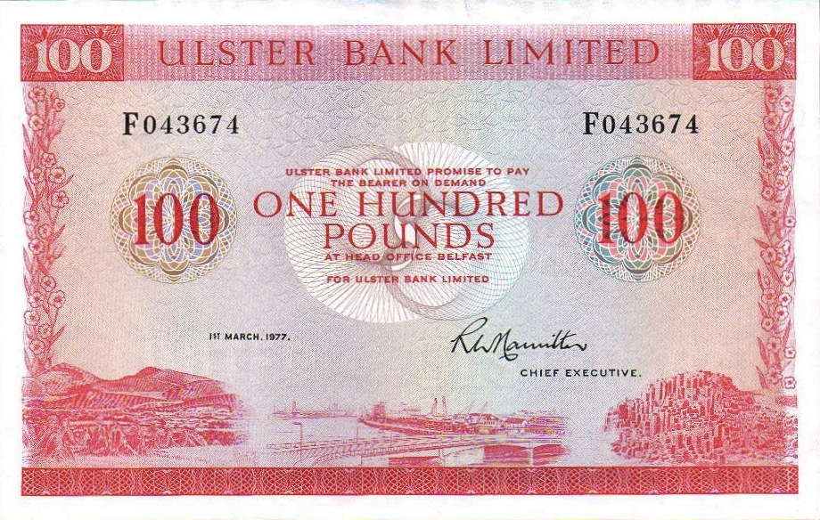 Ulster Bank Limited 100 Pounds banknote - series 1977-1982