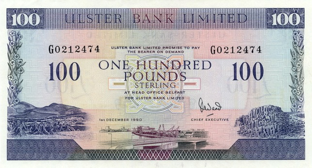 Ulster Bank Limited 100 Pounds banknote - series 1990