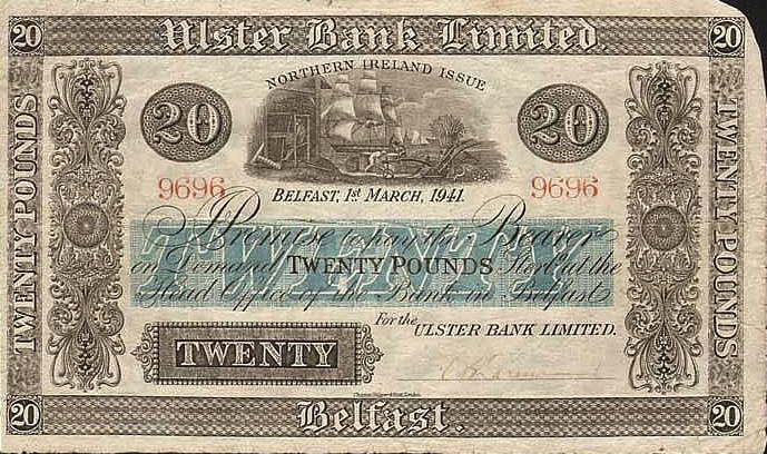 Ulster Bank Limited 20 Pounds banknote - series 1929-1948