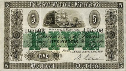 Ulster Bank Limited 5 Pounds banknote - series 1929-1956