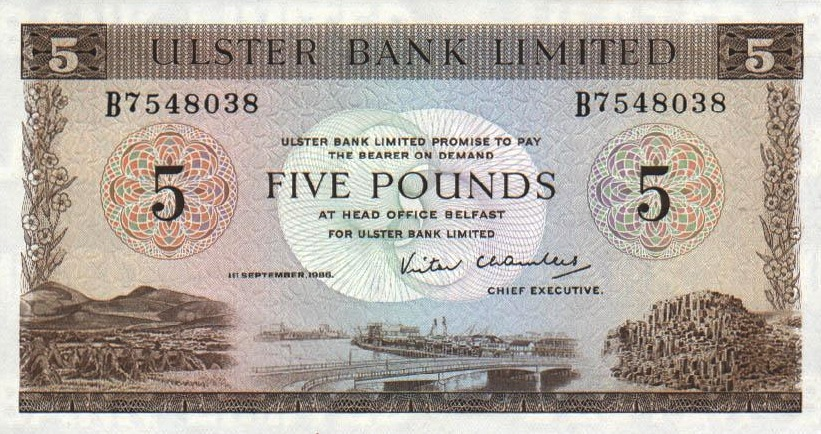 Ulster Bank Limited 5 Pounds banknote - series 1971-1988