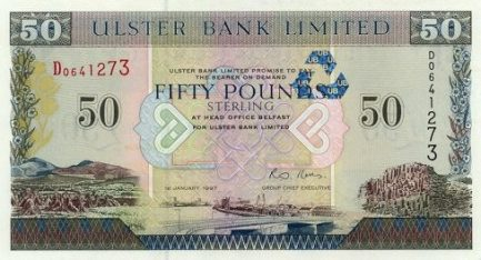 Ulster Bank Limited 50 Pounds banknote - series 1997