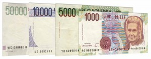 Italian Lire banknotes accepted for exchange