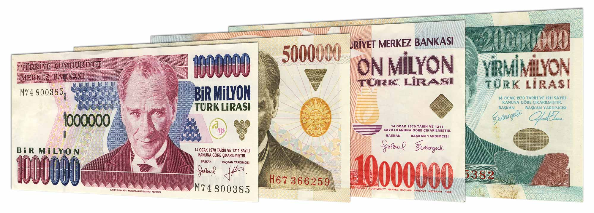Obsolete old Turkish Lira 1970-2004