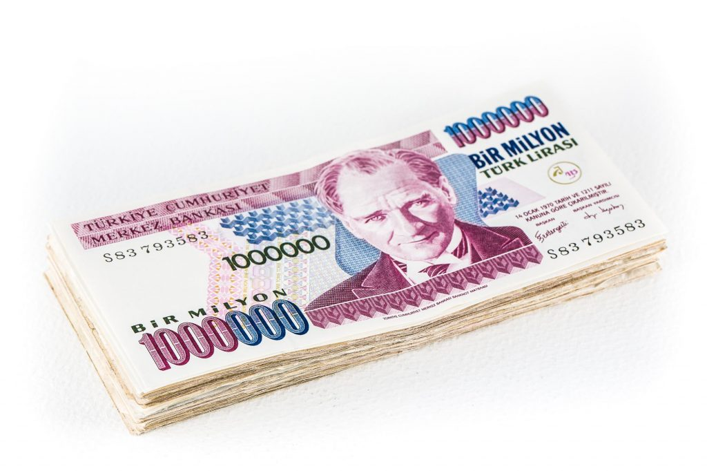 a bundle of old Turkish lira bir milyon banknotes