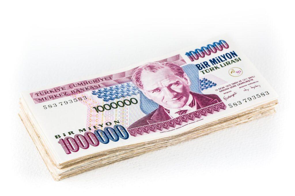 a bundle of old Turkish lira bir milyon banknotes