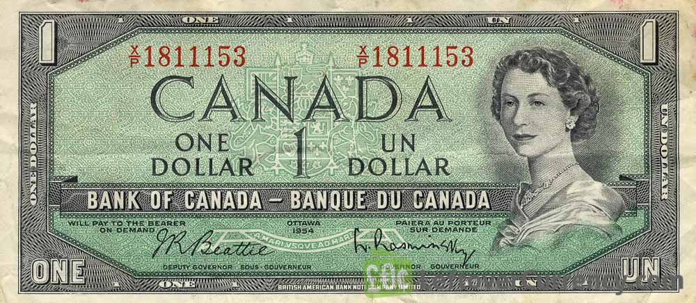 1 Canadian Dollar banknote (prairie series 1954)