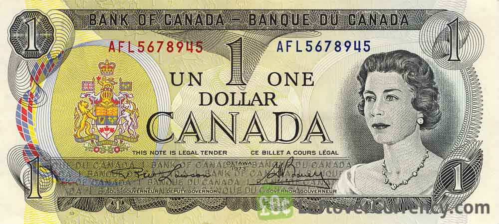1 Canadian Dollar banknote series 1974 Scenes of Canada