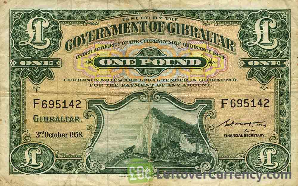 1 Gibraltar Pound banknote (Rock of Gibraltar series)