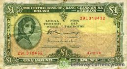 1 Irish Pound banknote (Lady Hazel Lavery)