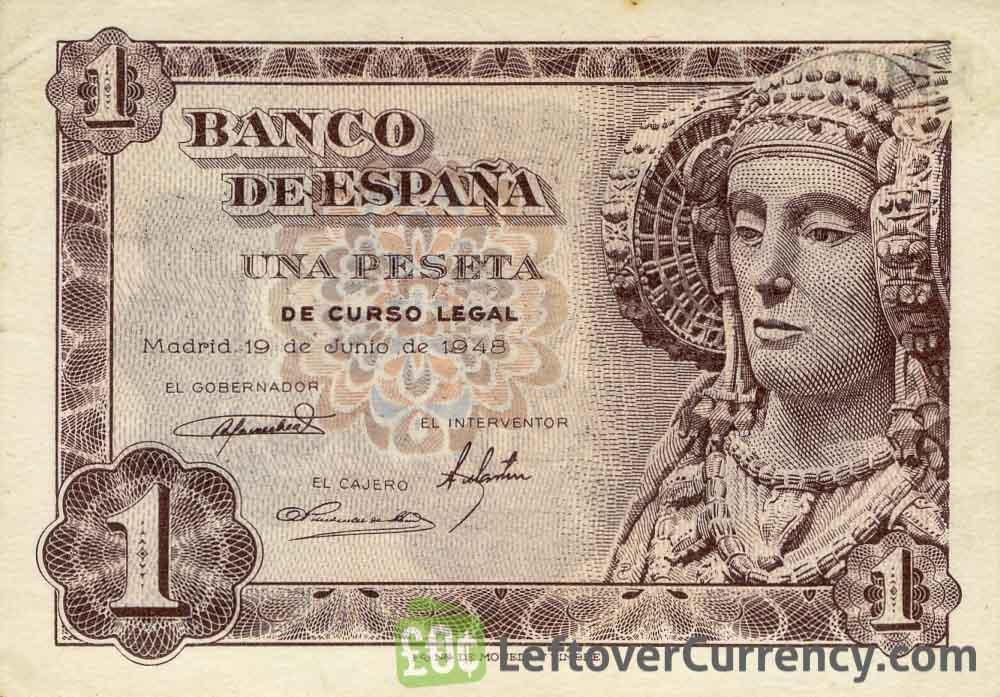 1 Spanish Peseta banknote (Dame of Elche)