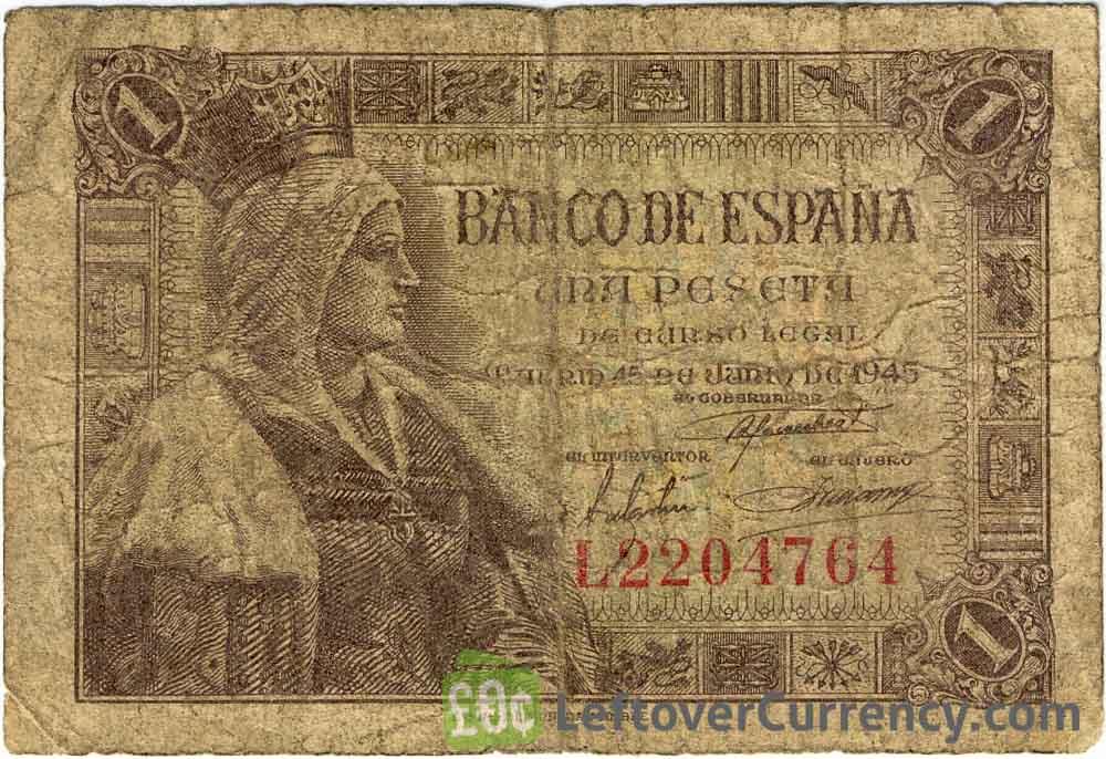 1 Spanish Peseta banknote (Isabel la Catolica)