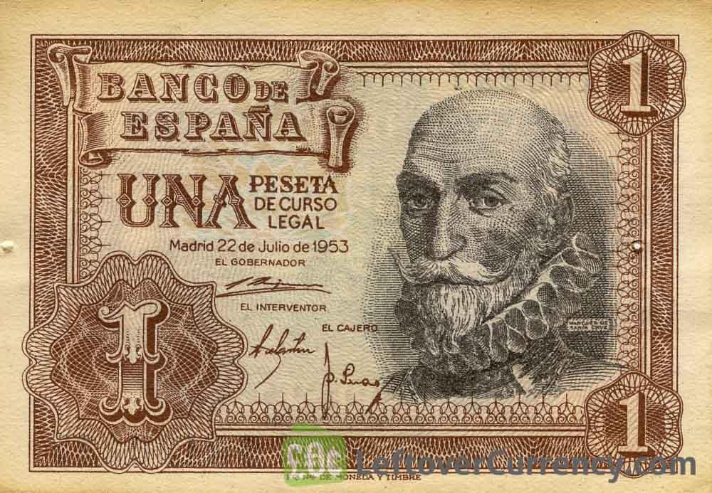 1 Spanish Peseta banknote (Marques de Santa Cruz)