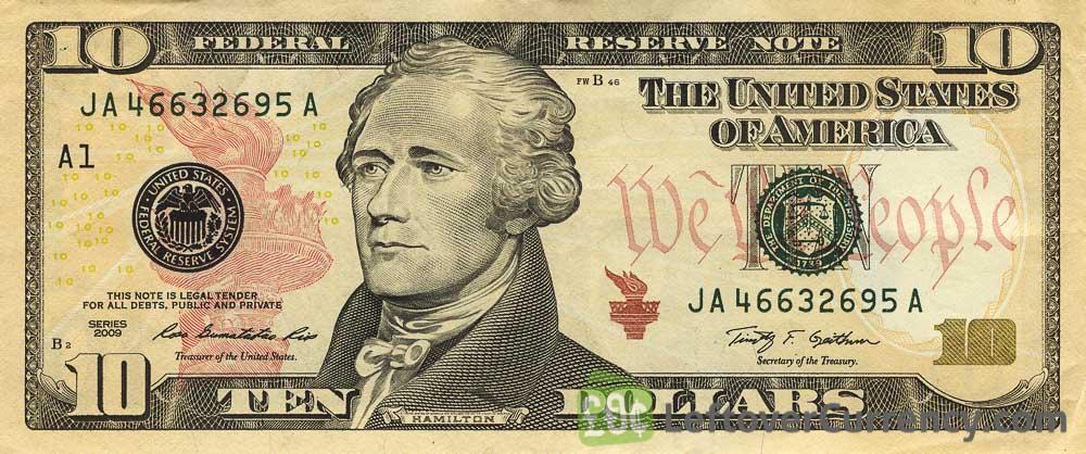 10 American Dollars banknote