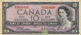 10 Canadian Dollars banknote series 1954