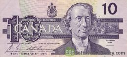 10 Canadian Dollars banknote series 1989 Birds of Canada