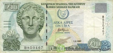 10 Cypriot Pounds banknote series 1997