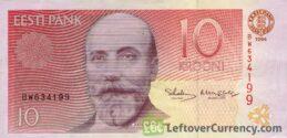 10 Estonian Krooni banknote (Jakob Hurt)