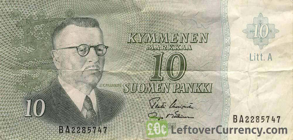 10 Finnish Markkaa banknote (Juho Kusti Paasikivi 1963)