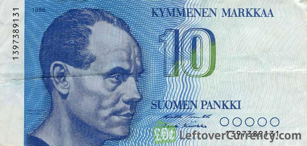 10 Finnish Markkaa banknote (Paavo Nurmi)