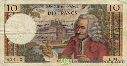 10 French Francs banknote (Voltaire)