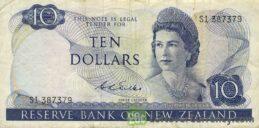 10 New Zealand Dollars banknote series 1967
