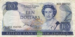 10 New Zealand Dollars banknote series 1981