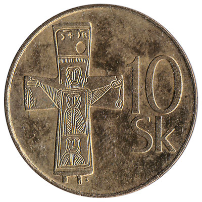 10 Slovak Koruna coin (gold-coloured)