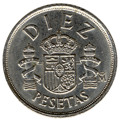 10 Spanish Pesetas coin