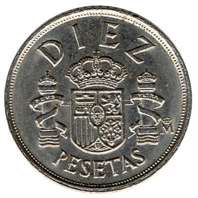 10 Spanish Pesetas coin