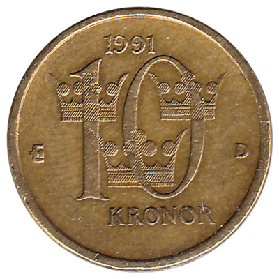 10 Swedish Kronor coin (minted from 2001)