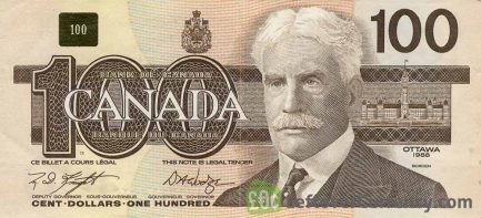100 Canadian Dollars banknote series 1990 Birds of Canada