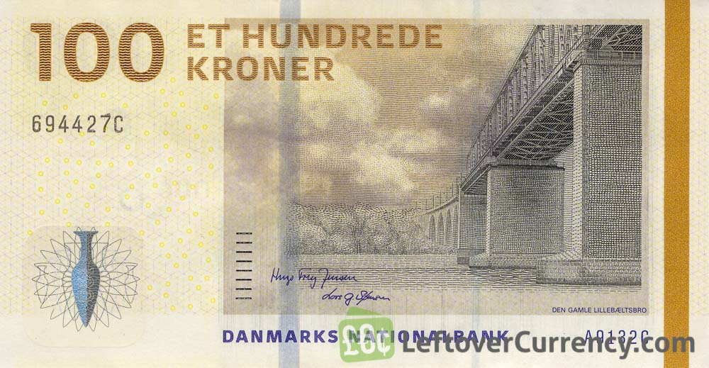 100 Danish Kroner banknote (Bridges of Denmark series)