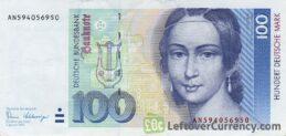 100 Deutsche Marks banknote (Clara Schumann)