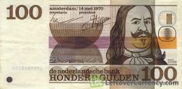100 Dutch Guilders banknote (Michiel de Ruyter 1970)