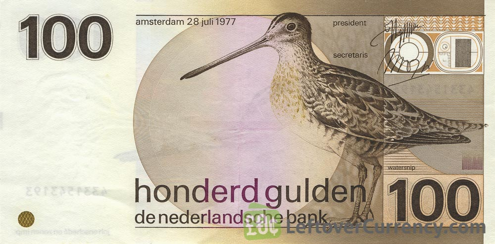 100 Dutch Guilders banknote (Snip 1977)