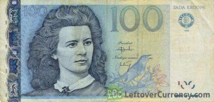 100 Estonian Krooni banknote (Lydia Koidula)