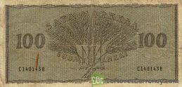 100 Finnish Markkaa banknote (1955 wheat gray)