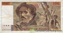 100 French Francs banknote (Eugene Delacroix)