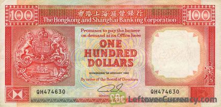 100 Hong Kong Dollars banknote (HSBC 1985-1992)