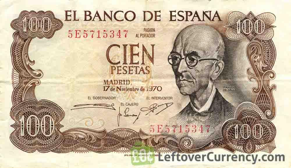 100 Spanish Pesetas banknote (Manuel de Falla)