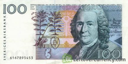 100 Swedish Kronor banknote (Carl von Linne issue 1986)