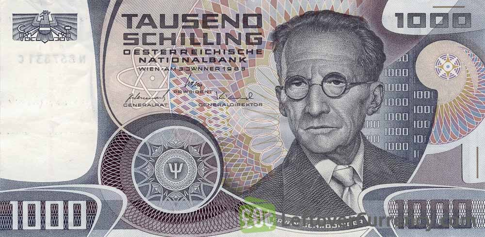 1000 Austrian Schilling banknote (Erwin Schrodinger)